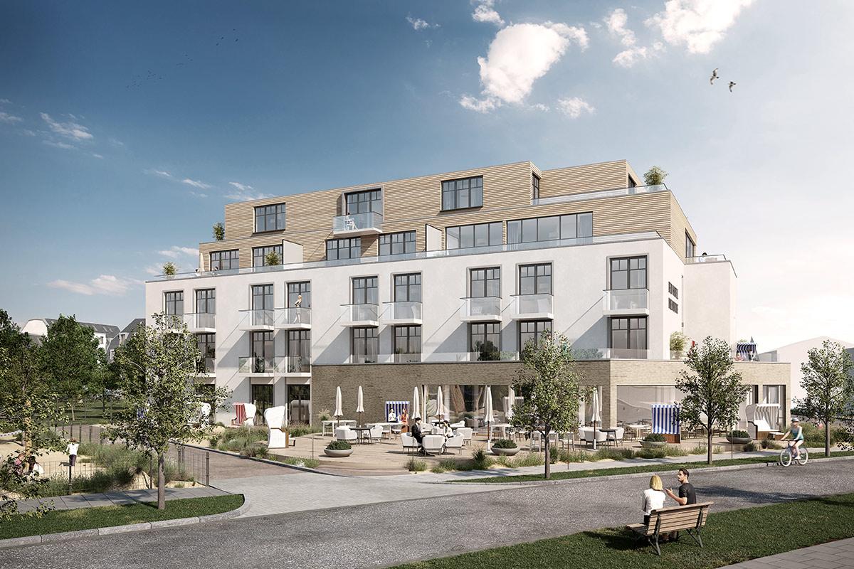 Aussenansicht Projekt Hotel Paduaweg · Niendorf / Ostsee